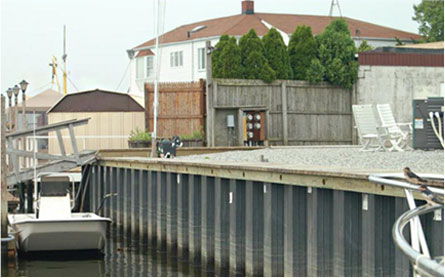 fiberglass sheet piling, retaining wall, seawall